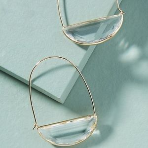 Anthropologie Stone Crescent Hoop Earrings